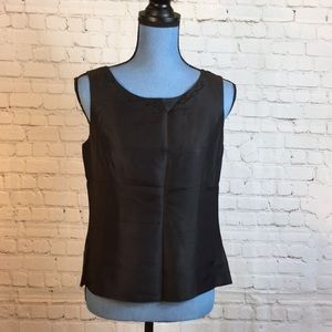 Papell black silk shell w bead detailed neckline